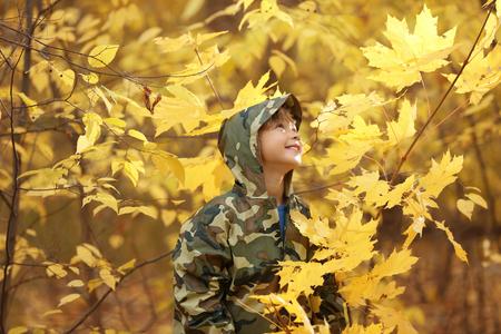 Cute little boy wearing raincoat in autumn park