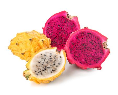 Tasty dragon fruits on white background Stock Photo