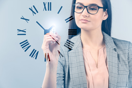 Businesswoman with virtual clock on light background. Time management concept