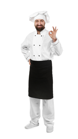 Male chef on white background Фото со стока
