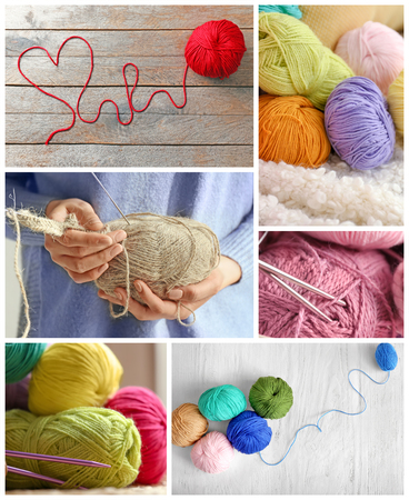 Collage of different color knitting threads