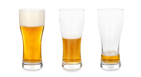 Glasses with different amount of beer on white background Stock Photo