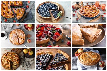 Different tasty fruit pies Imagens