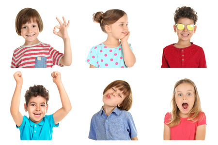 Little children with different emotions on white background 写真素材