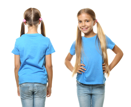 Little girl in t-shirt on white background. Front and back view