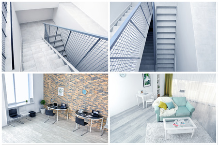 View from CCTV camera on staircase and rooms Stok Fotoğraf