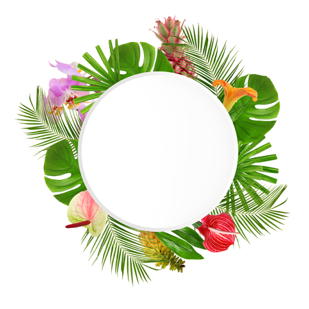 Frame made of green tropical leaves and flowers on white background
