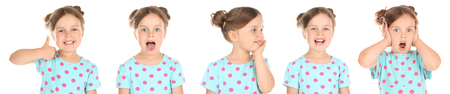 Little girl with different emotions on white background
