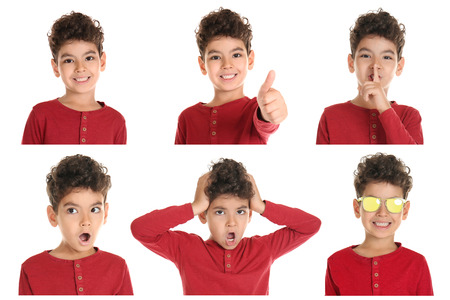 Little boy with different emotions on white background