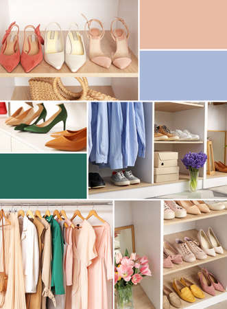 Collage of photos with modern wardrobe. Different color patterns Stock Photo