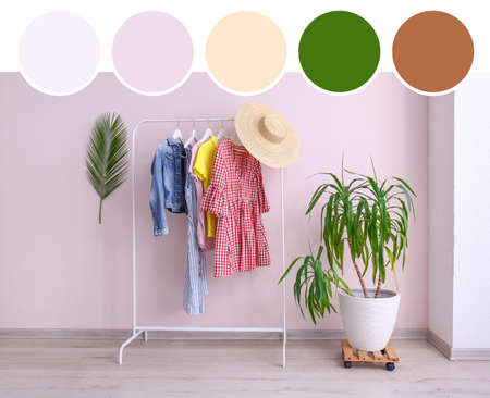 Stylish interior of modern dressing room. Different color patterns