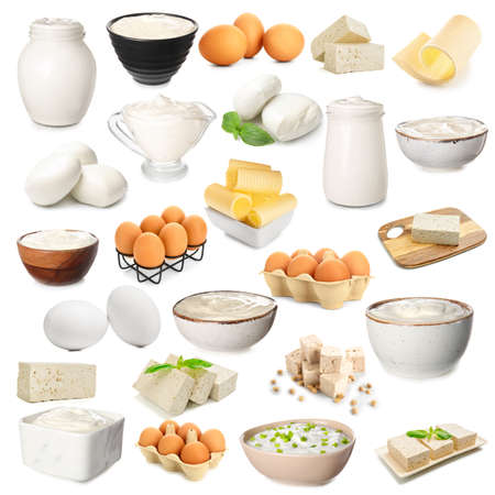 Set of different dairy products on white background