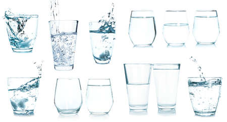 Collage with glasses of fresh water on white background Stock fotó