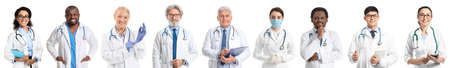 Different doctors on white background