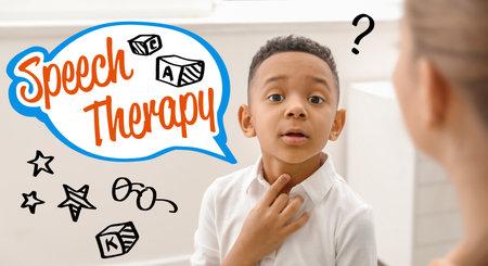 Little African-American boy at speech therapist's office