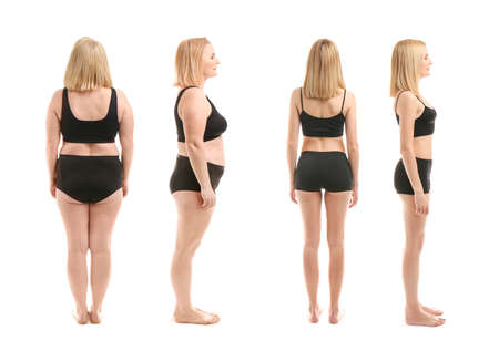 Woman before and after weight loss on white background