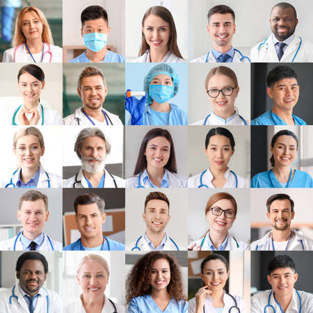 Collage of photos with different doctors and nurses