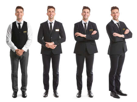 Male receptionist on white background