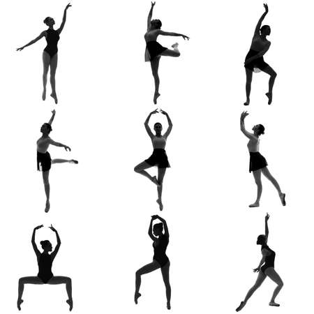 Silhouettes of beautiful young ballerina on white background Standard-Bild
