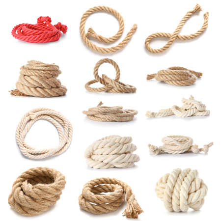 Different ropes on white background