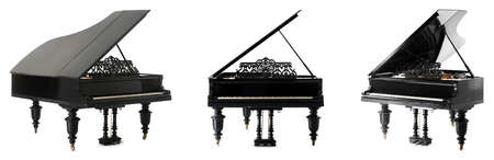 Black grand pianos on white background