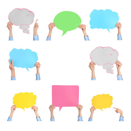Many female hands with blank speech bubbles on white background