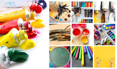 Collage of photos with artist's tools and paints Stock Photo