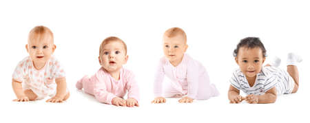 Cute little babies on white background Banque d'images