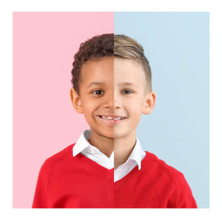 Comparison portrait of African-American and Caucasian boys on color background. Stop racism Imagens