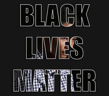 Sad African-American teenage boy and text BLACK LIVES MATTER on dark background Foto de archivo