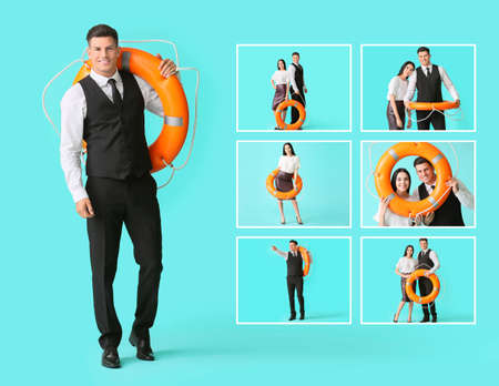 Young business people with lifebuoy on color background