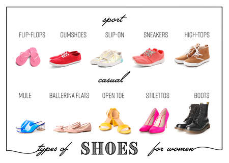 Different types of shoes for women on white background