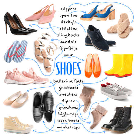 Collection of different shoes on white background Standard-Bild