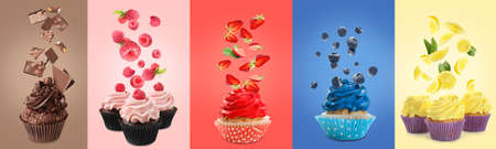 Different delicious cupcakes and flying ingredients on color background