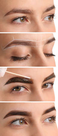 Collage with young woman undergoing eyebrow correction procedure, closeup Reklamní fotografie
