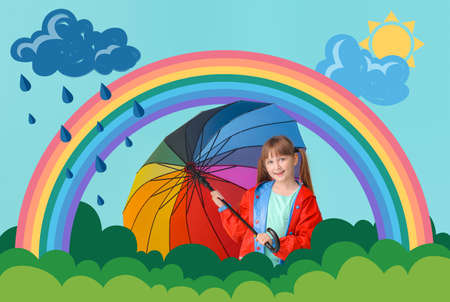 Cute little girl in raincoat and with umbrella on color background with drawn rainbow