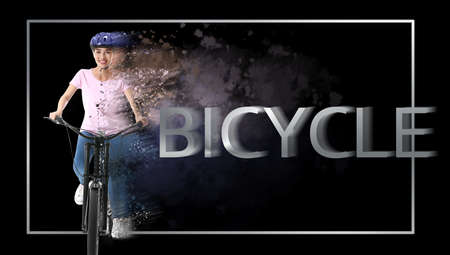 Beautiful young woman riding bicycle on dark background 스톡 콘텐츠