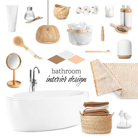 Collage with different elements of modern bathroom interior on white background