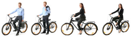 Collage with different young people riding bicycle against white background 스톡 콘텐츠