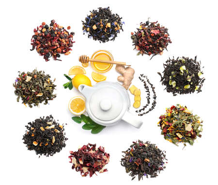 Composition with different types of fruit tea on white background