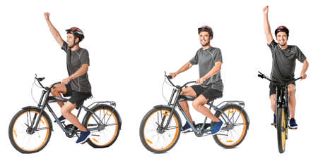 Collage with young man riding bicycle against white background