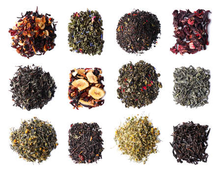 Different types of tea on white background