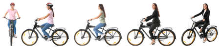 Collage with young woman riding bicycle against white background 스톡 콘텐츠