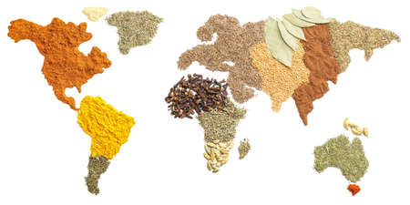 World map made of spices on white background