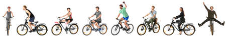 Collage with different people riding bicycle against white background