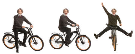 Collage with mature man riding bicycle against white background