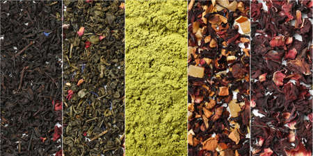 Different types of tea as background