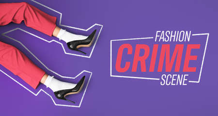 Legs of beautiful young woman with text FASHION CRIME SCENE on color background