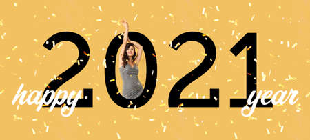 Beautiful young woman with falling confetti and text HAPPY 2021 YEAR on color background