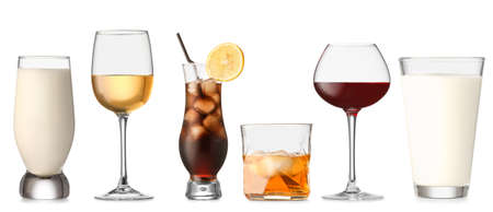 Collage with different beverages in glasses on white background